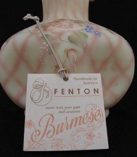 Stunning Large Fenton Lattice Diamond Optic Burmese Art Glass Vase