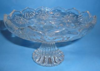 Glass Crystal Pedestal Candy Dish 3 D Design Scalloped Edge Vintage