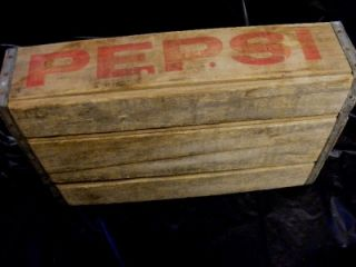 24 Empty Pepsi Cola Soda Glass Bottles Wood Crate w Red Lettering Very