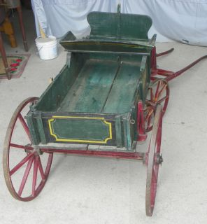 Antique Wooden Goat Wagon Spoke Wheels Original Green Red Paint