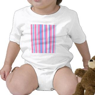 Pink blue and white stripes tee shirt