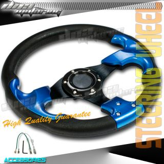 PVC LEATHER 320MM T300 RACING STEERING WHEEL RACE/DRIFT BLUE TRIM BLK