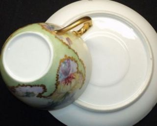 Antique Limoges Encrusted Gold Pink Yellow Green France Tea Cup and