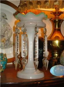 Victorian Opaline White Glass Luster Eight Large Crystal Drops