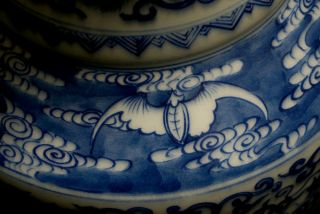 Large Antique China 18th C Blue and White Porcelain Vase Dragon Signed