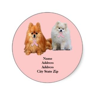 Pomeranian Breast Cancer Address Label Round Stickers