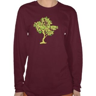 Yellow Recycle Tree Long Sleeve Womens Shirt