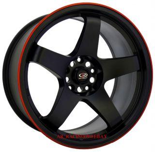 18 Rota Wheels 18x9 5 P45R BK Red 370Z G37 RX8 Genesis