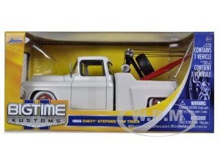 1955 Chevrolet Stepside Tow Truck Pearl White 1 24 Car Model by Jada