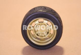 RC 1 10 Car Tires Wheels Rims Package Kyosho Tamiya HPI Gold Old