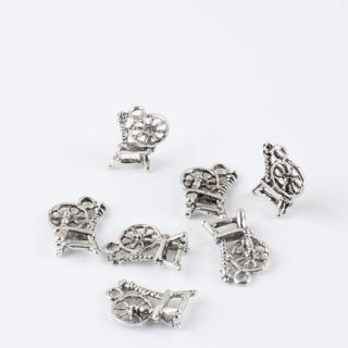 40pc Tibetan Silvers Loose Spinning Wheels Dangle Pendant Charm Beads