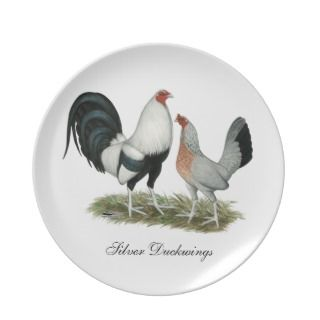 Silver Duckwing Gamefowl Party Plates