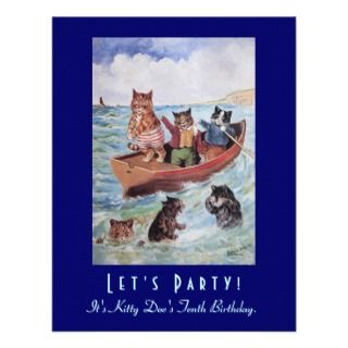 Louis Wains Swimming Cats Birthday Party invitations by AnthroAnimals