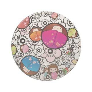 Funky Coasters with Japanese Kokeshi Dolls
