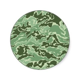 Patriotic Army Custom Green Camouflage Designs Round Sticker