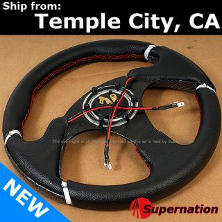 JDM Carbon Fiber Style Racing Steering Wheel Beginner Badge Horn with