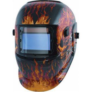 New Black w/ Flames/Flamed Skull Welding Helmet, Solar Powered Auto