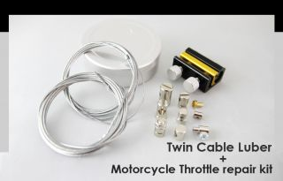 Motorcycle throttle cable repair travel kit + Cable Lube Lubricator