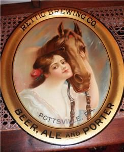 Rettig Brewing Co Beer Ale Porter Tray w Horse and Girl Pottsville PA