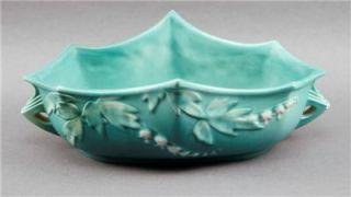 Roseville USA Turquoise Matte Floral Pottery Handled Planter 382 10