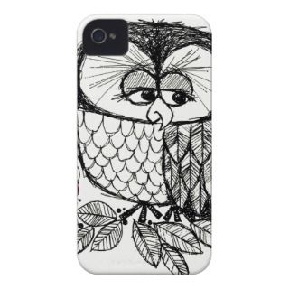 Retro Black & White Owl with Ladybug Poster Print Case Mate iPhone 4