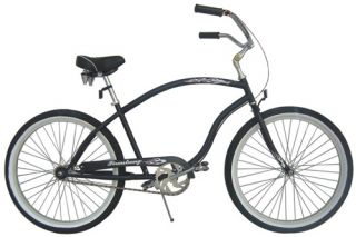 26 Beach Cruiser 3 Speed Bicycle Bike Forward Crank Matt Black