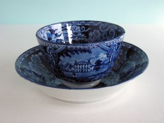 Staffordshire Pearlware Derbyshire Cup Saucer Dark Blue Transferwar