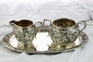 Kirk Repousse Sterling Silver Creamer Sugar Tray