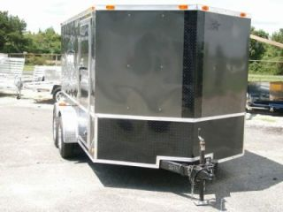 7x12 Double Motorcycle Enclosed Trailer w Harley Davidson Decals Blk