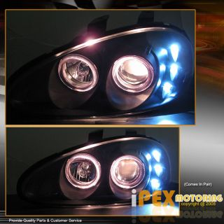 Dual Angel Eyes Halo Projector Headlights w LED Black