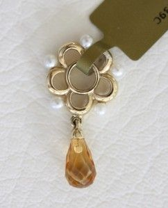 Story Wheels 14k Yellow Gold Briolette Citrine Pearl Charm