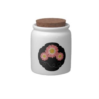 Pink Daisy Storage Container Cookie Jar