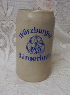 Vintage German Wurzburger Stoneware Beer Stein Mug