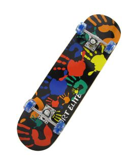 Colorful Handprint Skateboard with Clear Blue Light Up Wheels