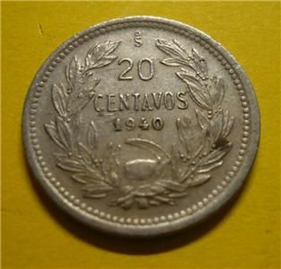 1940 Republica de Chile 20 Centavos Twenty Cents World Coin Circulated
