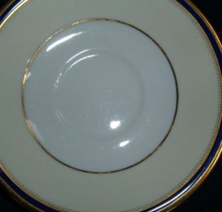 Windsor Pattern Cobalt Blue and Gold Rim Cream Soup Bowls W/Saucer