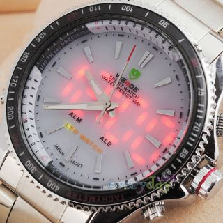 Battery Sport Stainless Steel Boys Mens Watches Red LED Alarm Date Day
