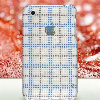 Diamond Glitter Case Blue Plaid for Apple iPhone 3G 3GS