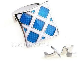 White Blue Tungsten Gold Grid Square Steel Cuff Links