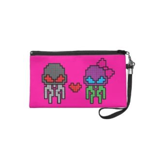 Skullyfish Love in Pixels Wristlet Clutches