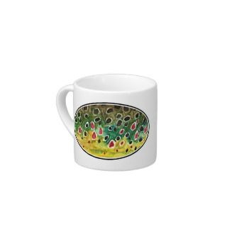 Trout Fly FIshing Espresso Cups