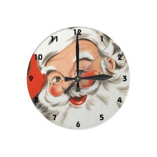 Vintage Christmas Jolly Merry Santa Claus with Hat Round Wallclock