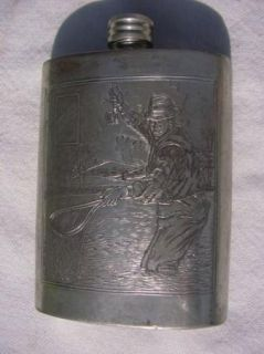 British Pewter Flask with Fly Fishing Scenes