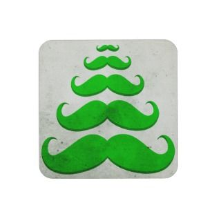 Funny green mustache, Christmas tree shape Coasters