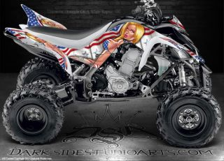 Yamaha Raptor 700 ATV Graphics Patriotic Seduction Blue Model