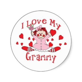 love My Grammy Rag Doll & Hearts Round Stickers