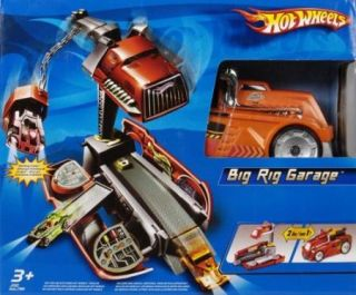 New Hot Wheels Big Rig Garage Playset Super Garage Semi Crane 2 in 1