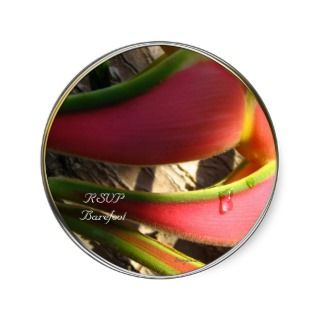 Heliconia Tropical Wedding Envelope Seals Round Stickers