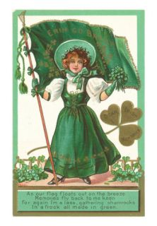 St. Patricks Day Poem, Girl with Flag Print