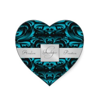 Elegant Dark Teal Damask Heart Wedding Sticker